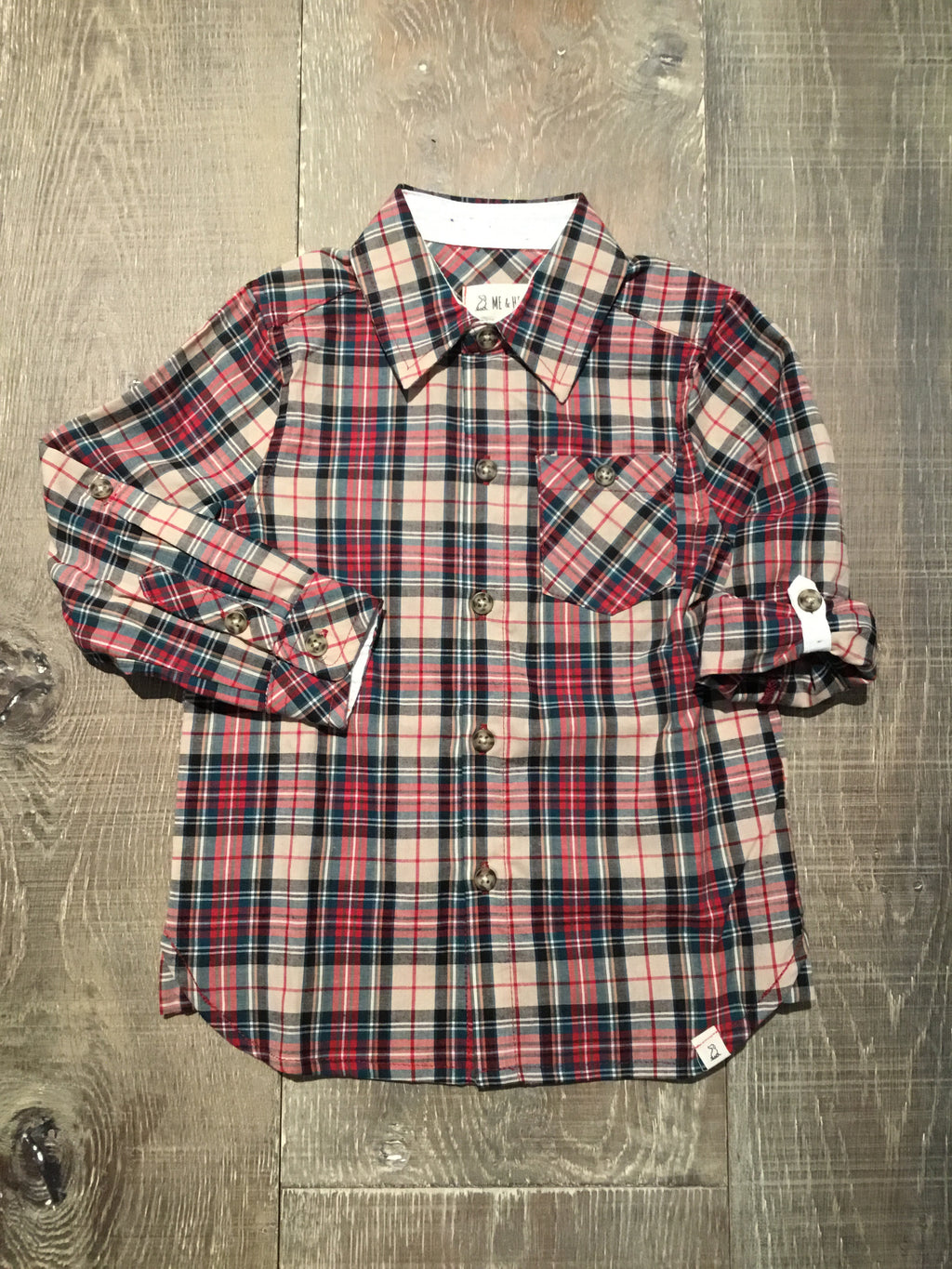 Green & Red Plaid Long Sleeve Shirt