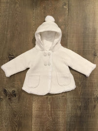 Cream Knitted and Lined Cardigan with Hood