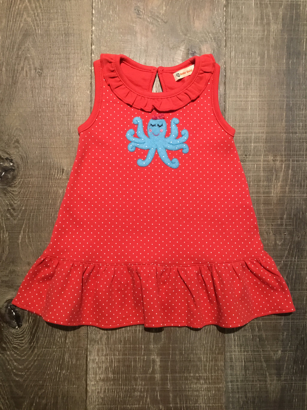 Dotted Coral Octopus Ruffle Dress
