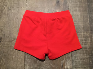 Solid Red Knit Ruffle Shorts
