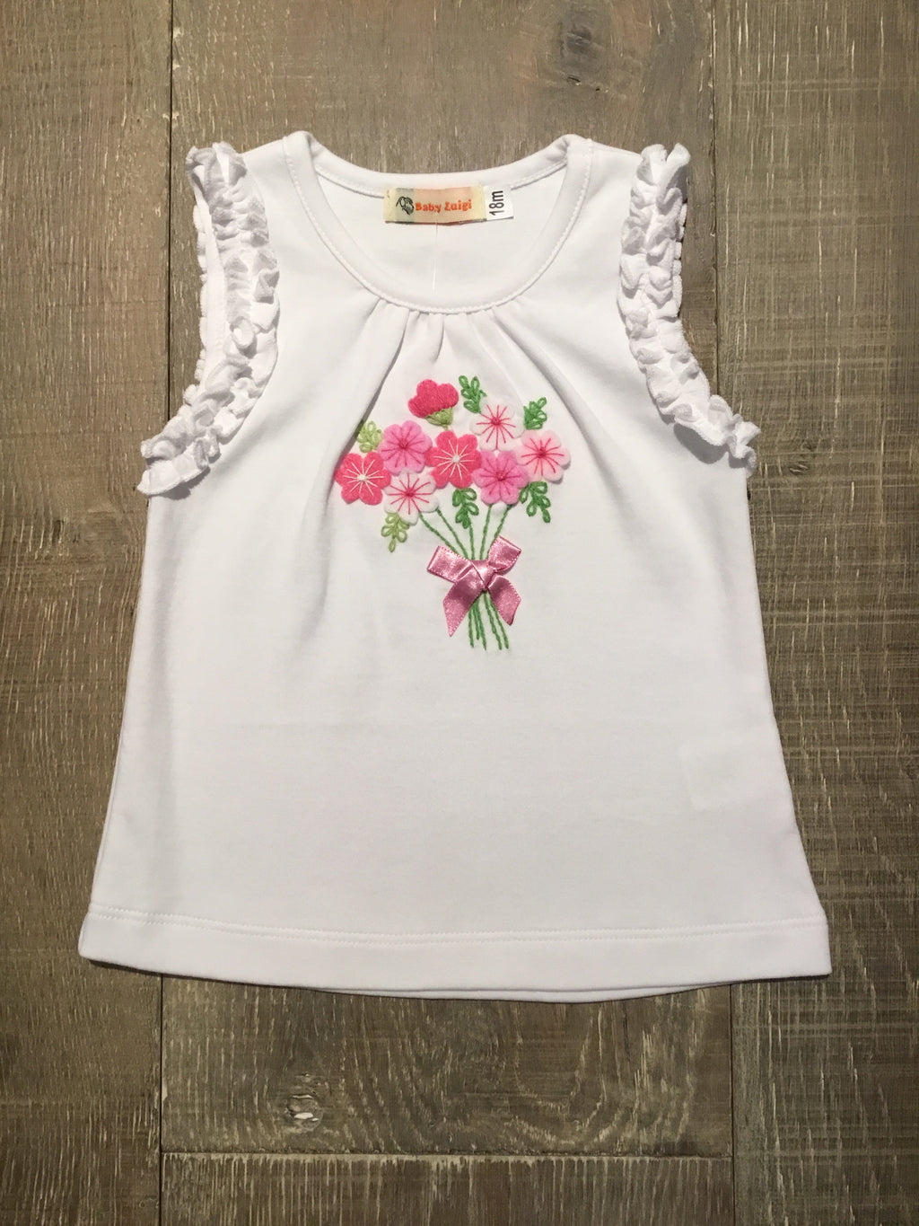 Flower Bouquet Ruffle Tank Top