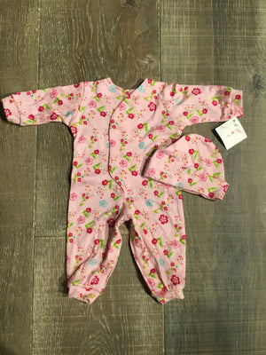 Pink Floral Preemie Coverall & Hat