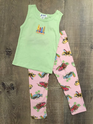 Surfboards and Woodies Tank and Capri PJs