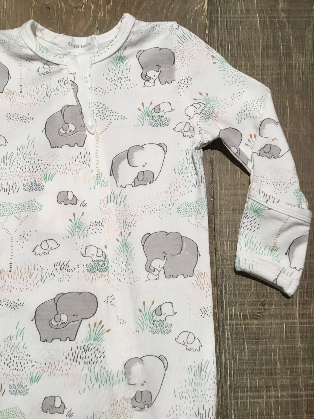 Elephants Bamboo Zipper Footie