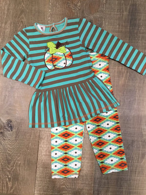 Turquoise & Brown Striped Pumpkin Long Sleeve Dress with Leggings