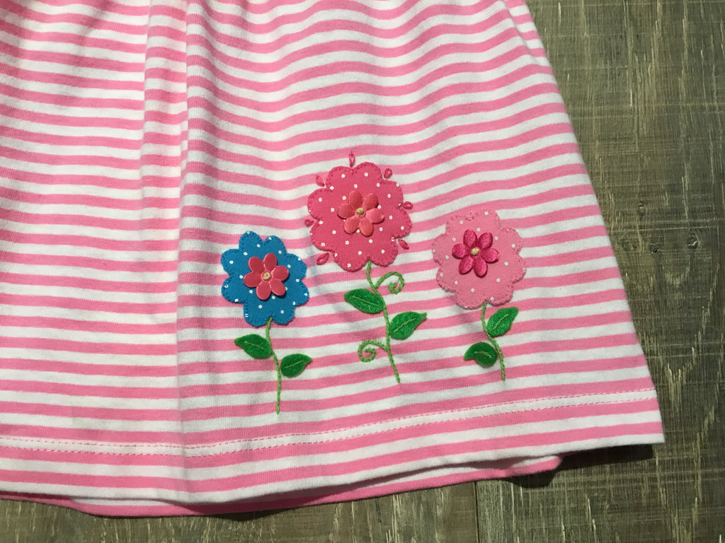 3 Flowers Pink Stripe Baby Dress
