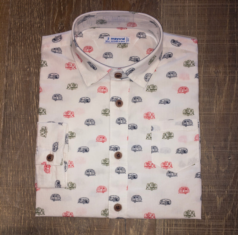 R.V. Camper Print Long Sleeve Dress Shirt