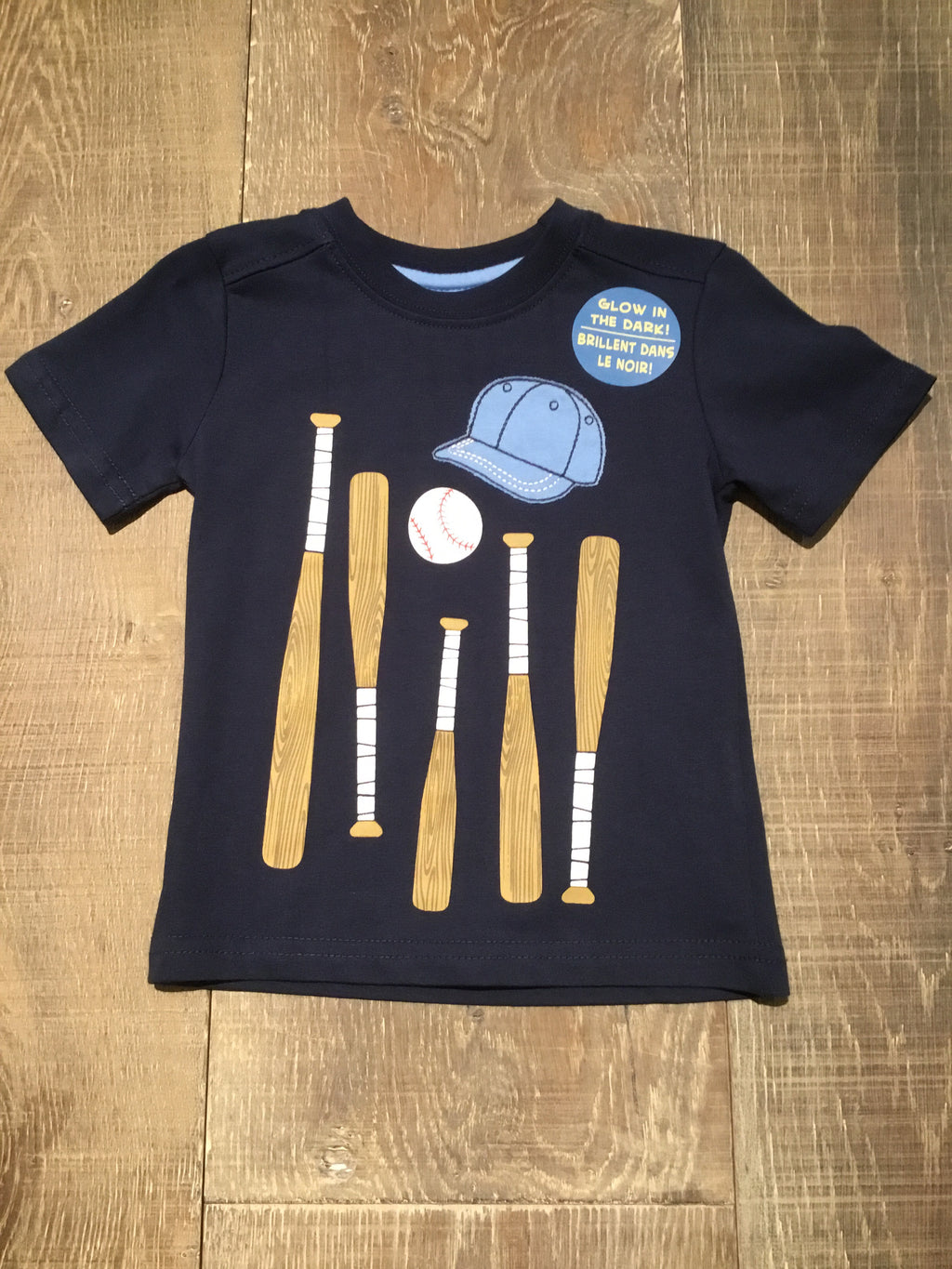 Baseball Bat & Hat Navy Tee GLOW IN DARK