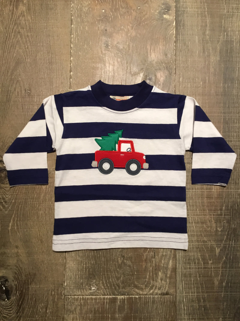 Truck with Tree on Navy/White Striped L.S. Tee