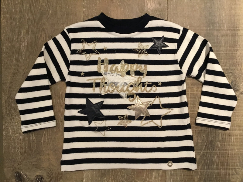 """Happy Thoughts"" Striped Pullover Shirt"