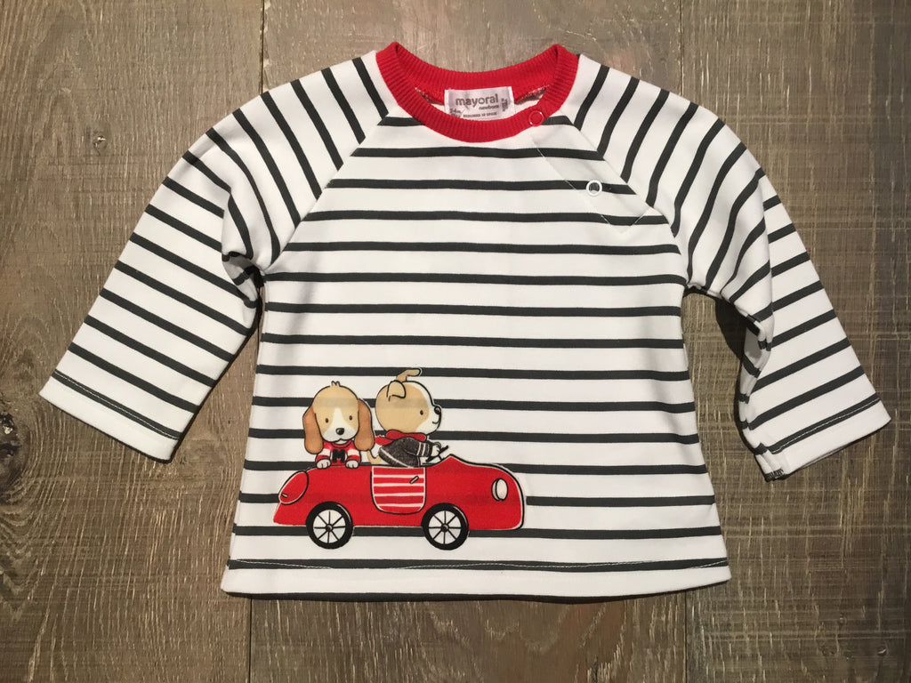 Car Pups on Striped LS Tee