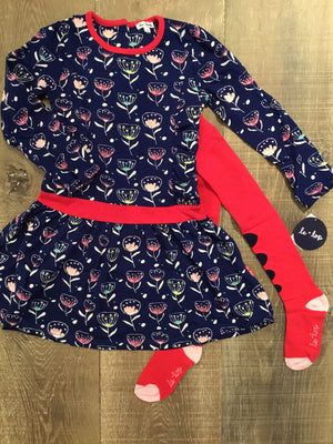 """Efferescence"" Navy Dress and Tights"