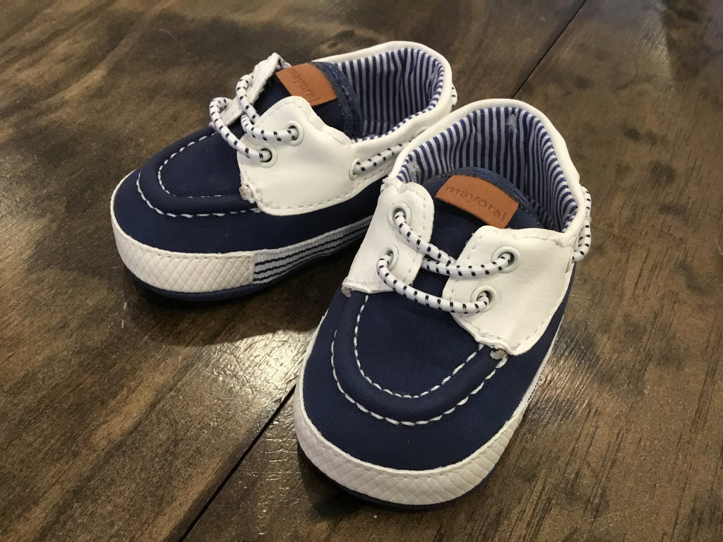 Navy & White Infant Deck Shoes