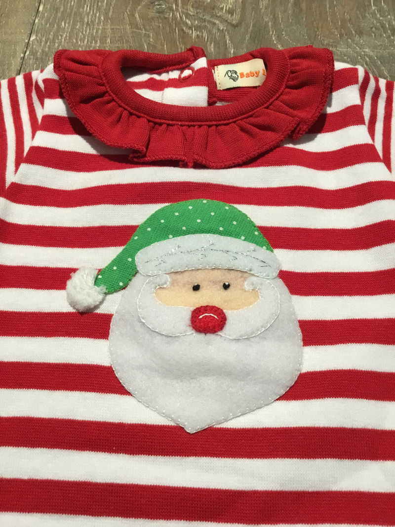 Santa Face on Red/White Striped Ruffle Coverall