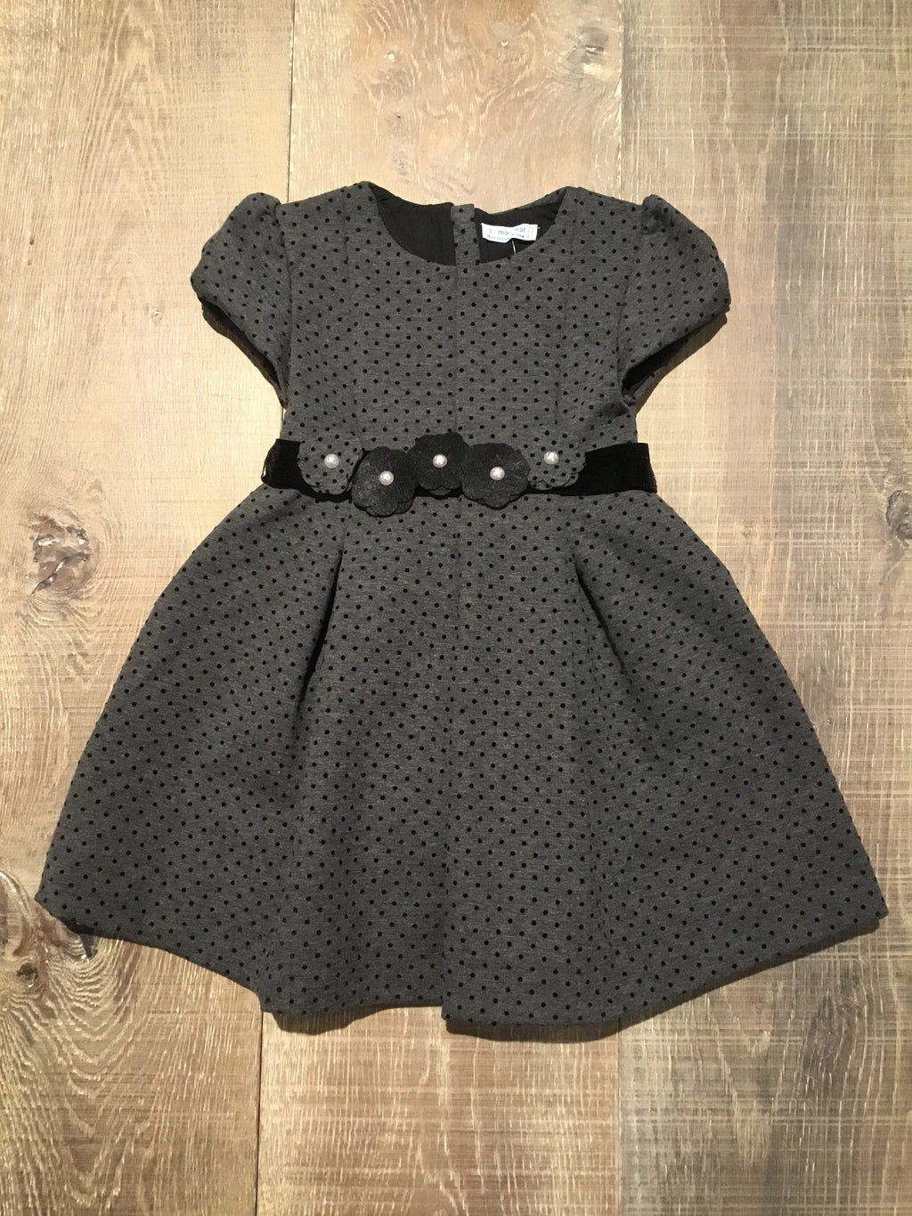 Grey & Black Dotted Floral Dress
