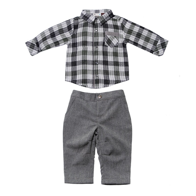 Reversible Plaid Shirt & Grey Microsuede pant set