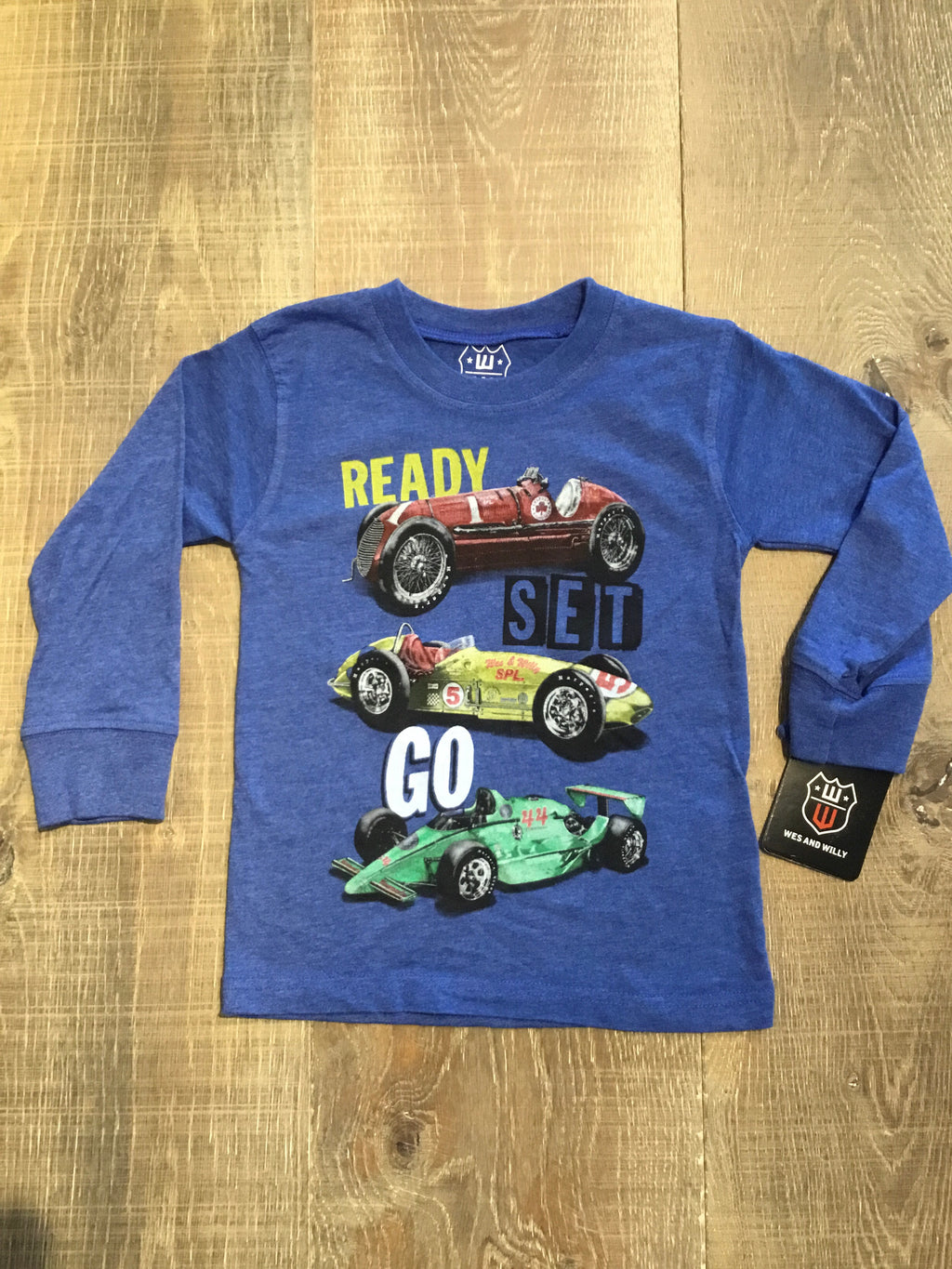 Ready Set Go Long Sleeve Blue Tee