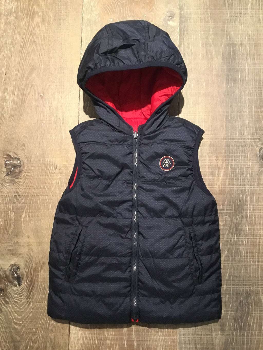 Red & Navy Padded Reversible Vest