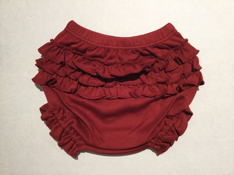 Burgundy Ruffled Diaper Cover