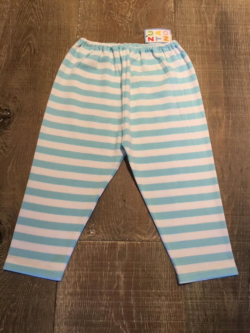 Aqua and White Striped Pants