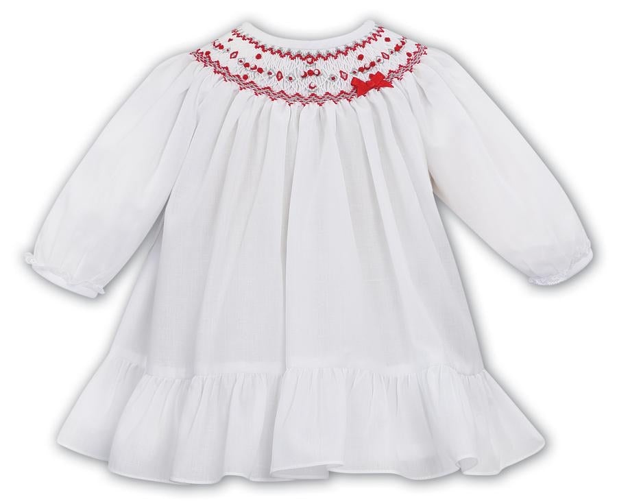 White with Red Smocked Holiday Dress