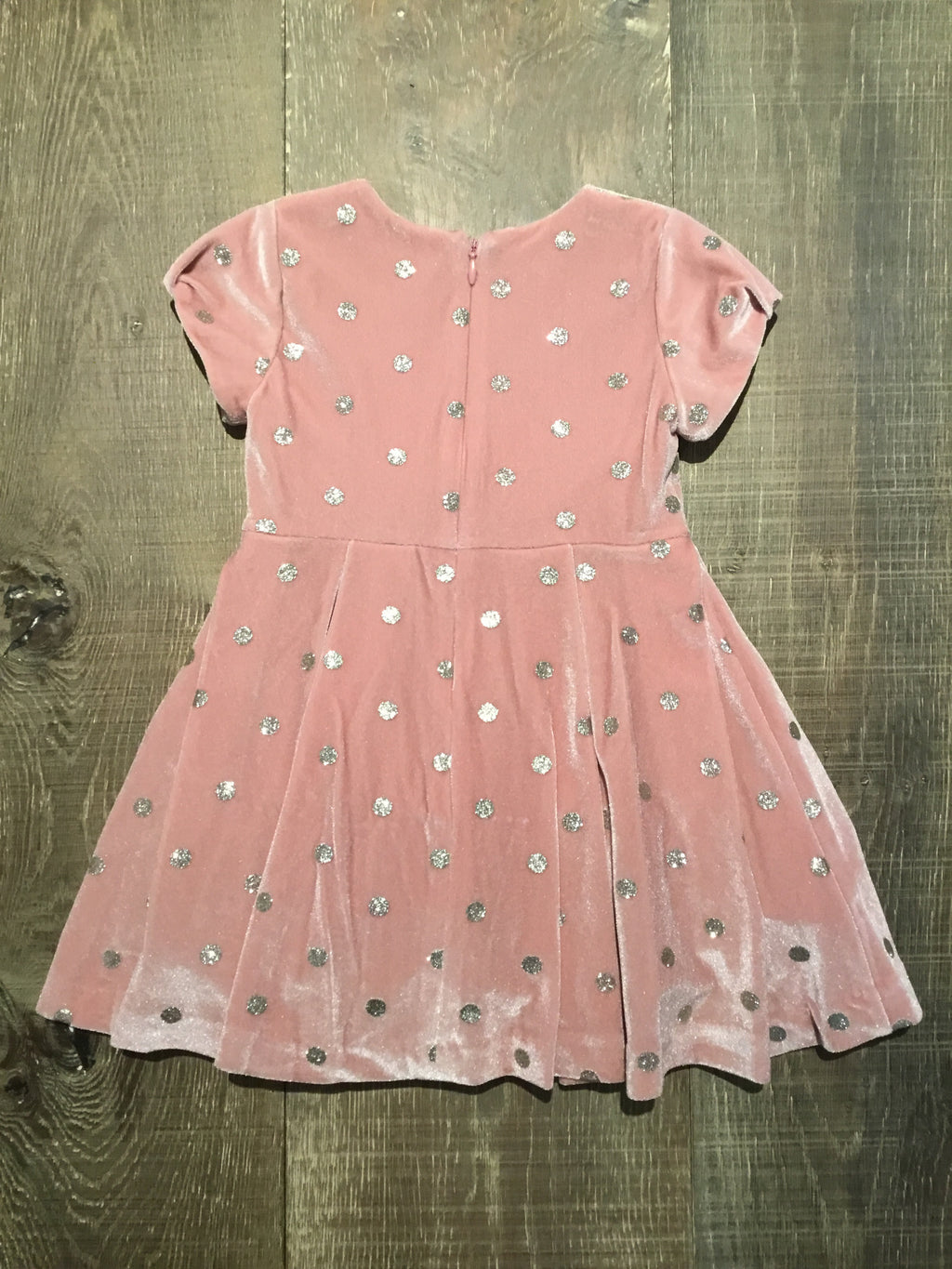 Blush Velvet Silver Dotted Dress