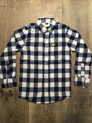 Midnight Flannel Plaid Long Sleeve Shirt