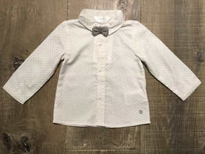 Dotted Long Sleeve Dress Infant Shirt with Bow Tie