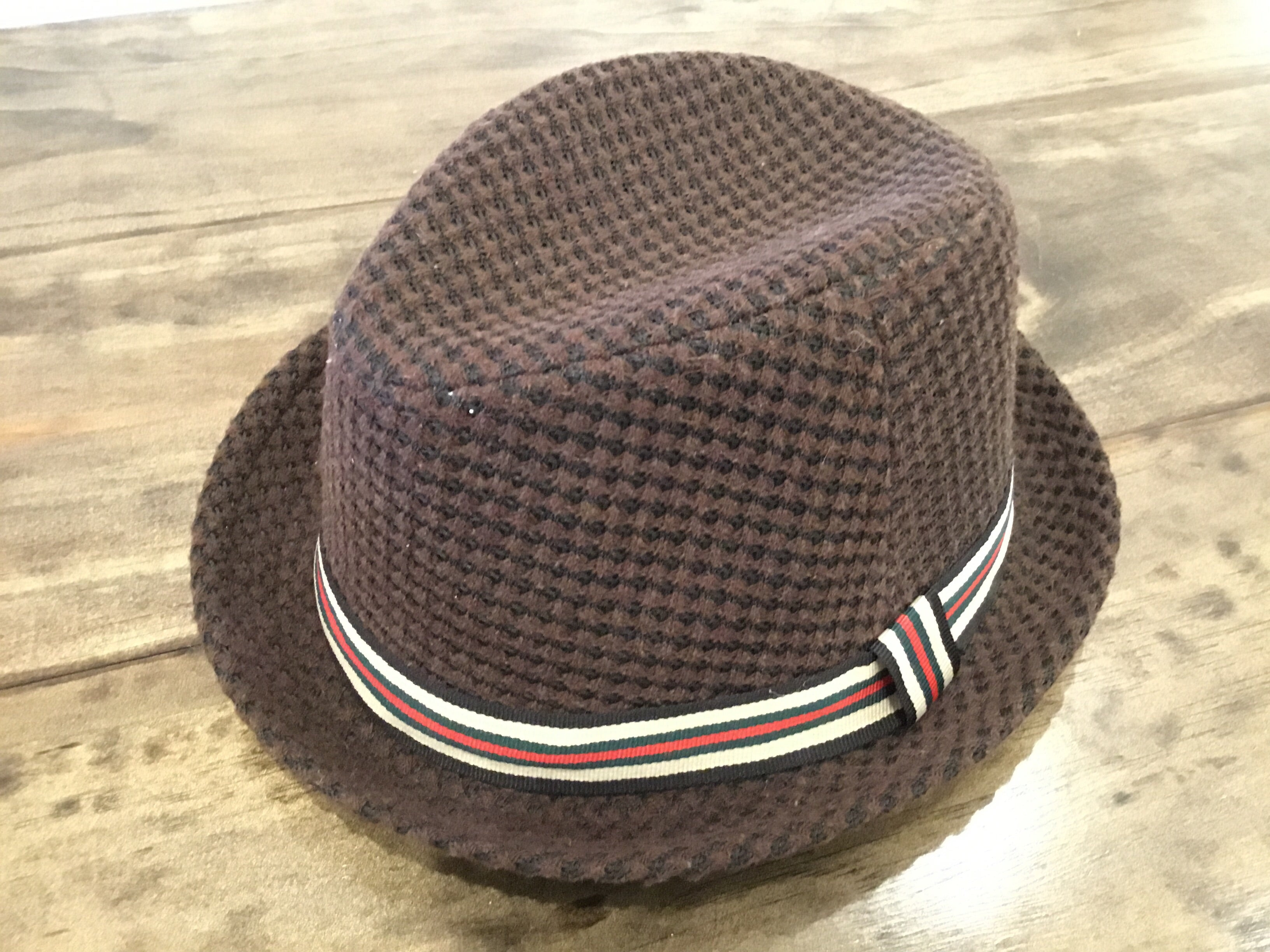 Brown Textured and Banded Fedora