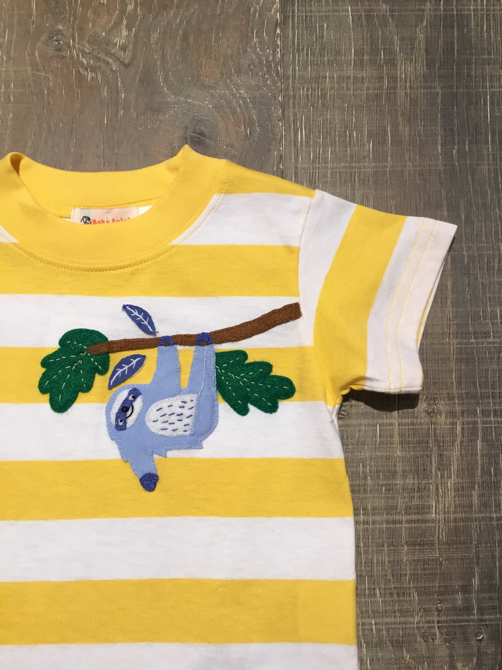 Hanging Sloth on Yellow Stripe Tee