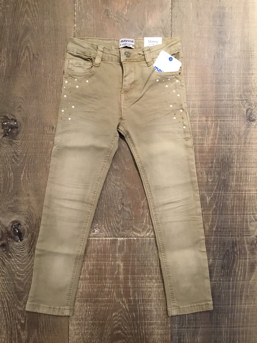Jeweled Khaki Skinny Pants