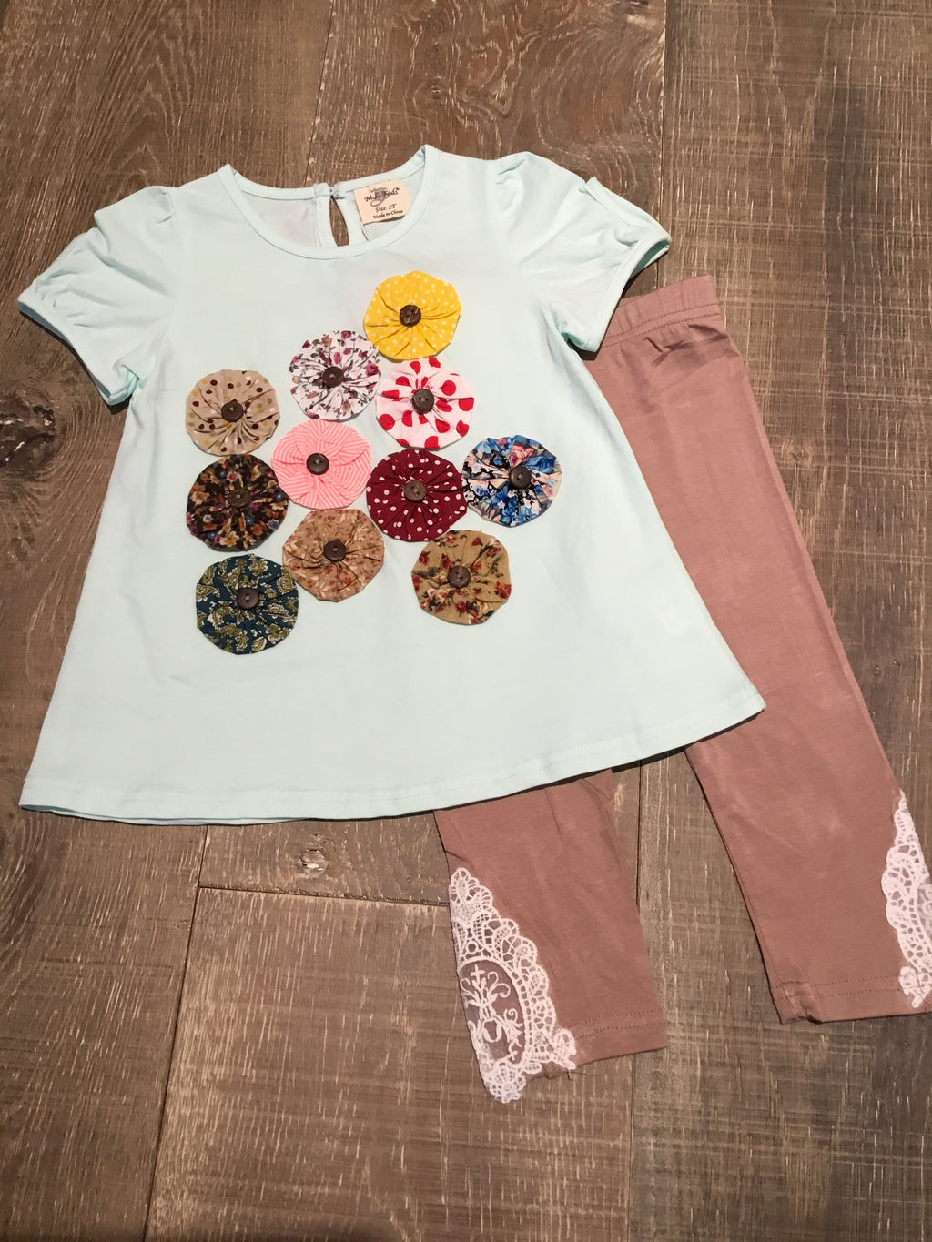 Mint Floral Top and Mocha Leggings