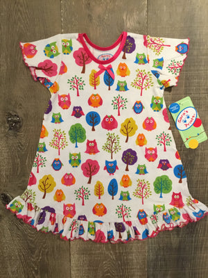 Trees and Owls Short Sleeve Night Gown