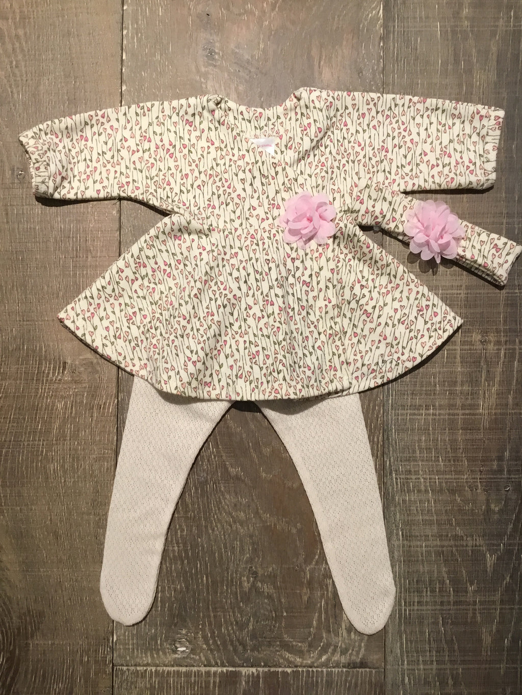 Preemie Floral Wrap Dress/Tights/Headband