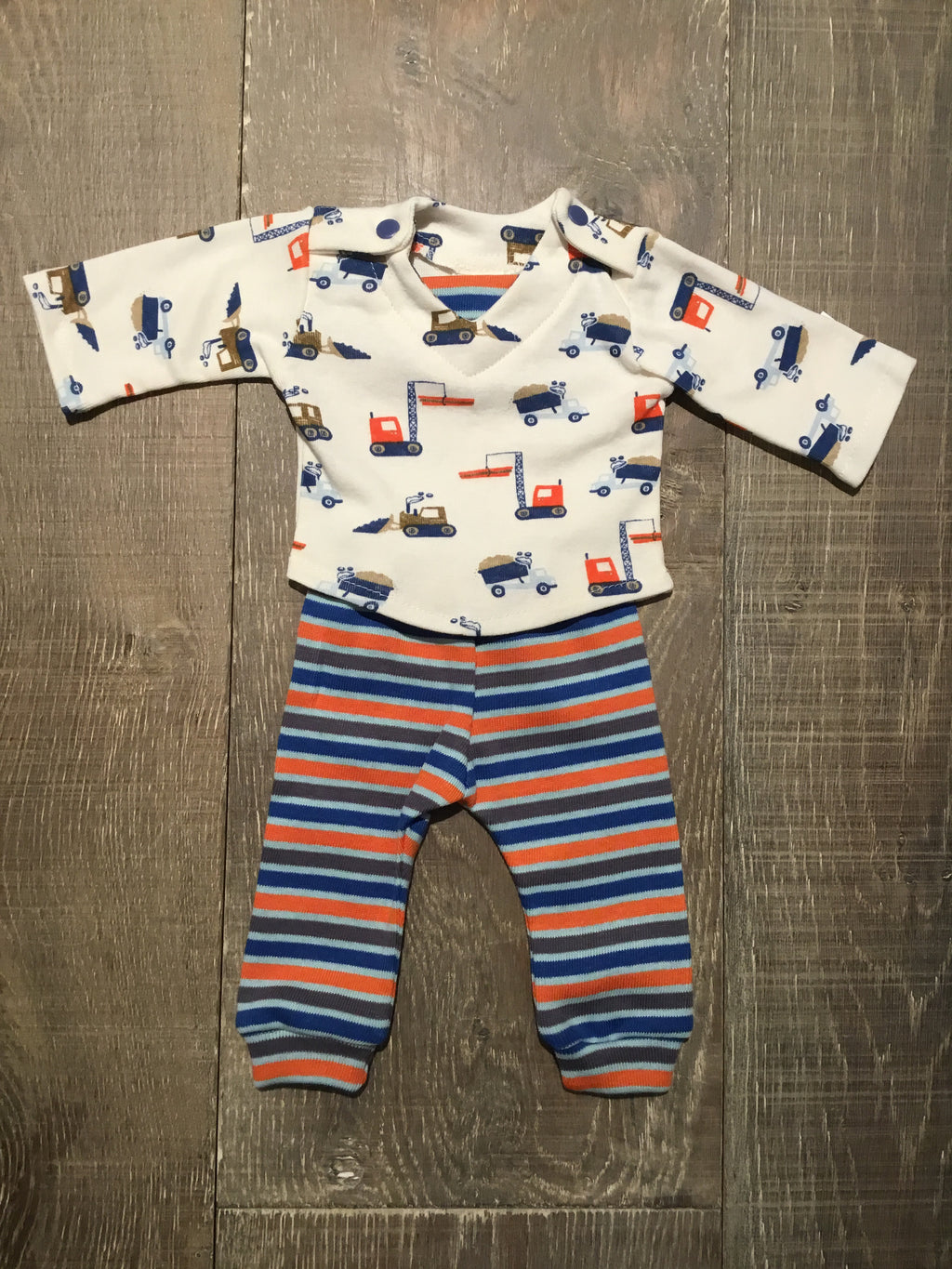 Preemie Construction Top & Striped Pants