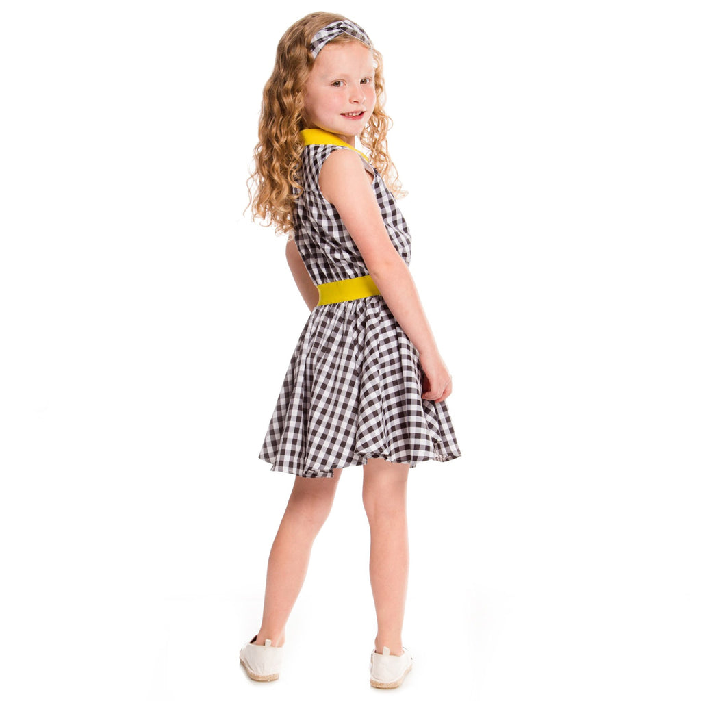 Black, White & Yellow Gingham Dress
