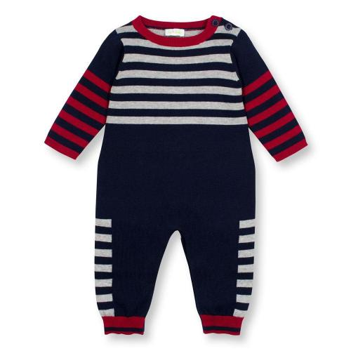 Navy and Red Stripe and Solid Sweater Knit Coverall