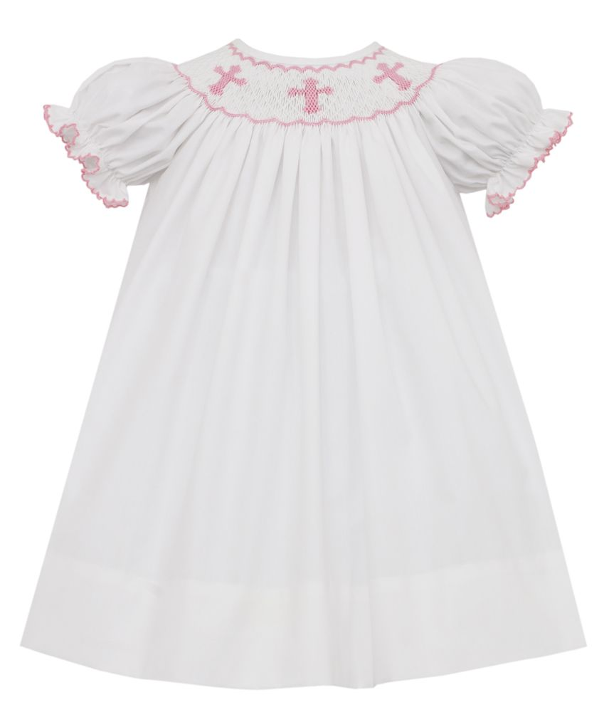 White with Pink Crosses Smocked Bishop Dress