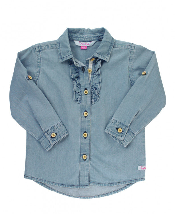 Light Wash Denim Ruffle Front Shirt