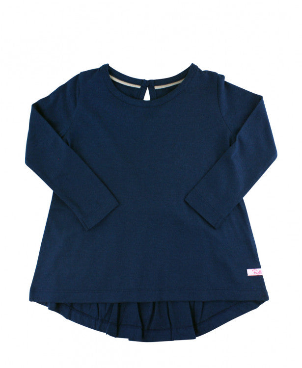 Navy Long Sleeve Bow-Back Top