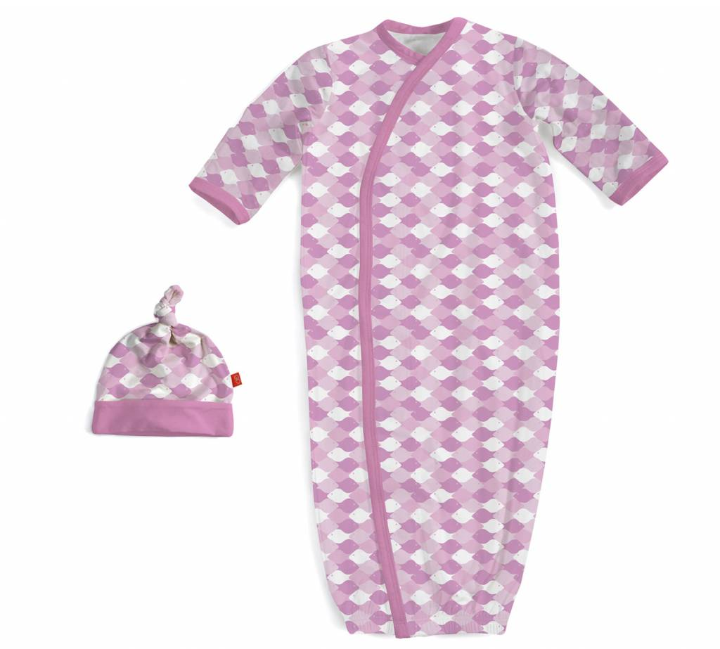 Pink Mod Fish Modal Magnetic Gown & Hat Set by Magnificent Baby