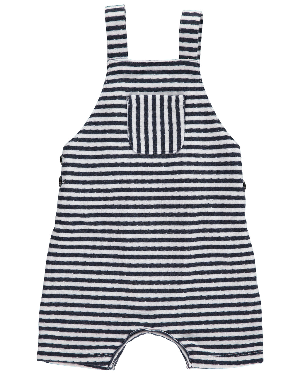 Navy Striped Shortie Overall