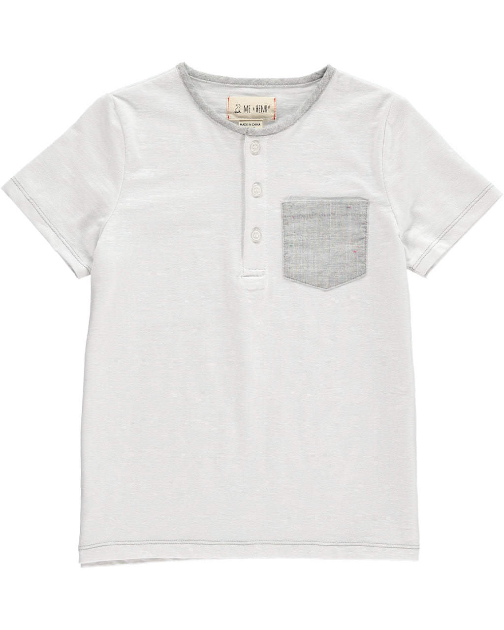 White Henly Tee with Grey Pocket