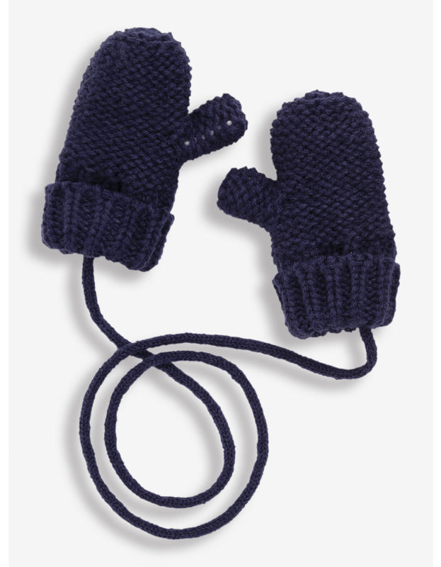 Mittens with String - Navy