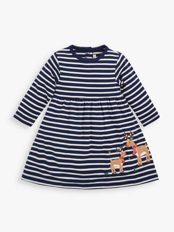 jojo maman bebe reindeer applique dress