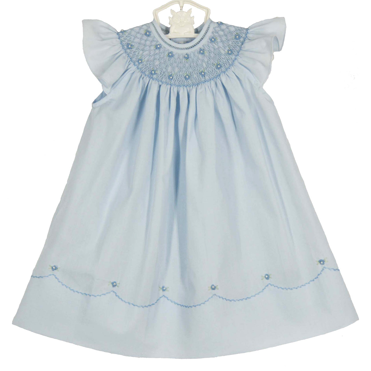 Blue Pearl Flower Midgie Bishop Dress with Fly Sleeves