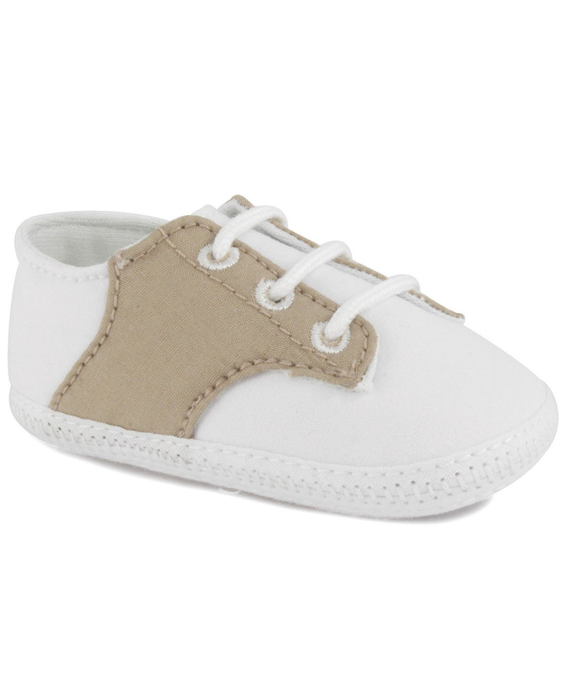 Beige Saddle Oxford Crib Shoe