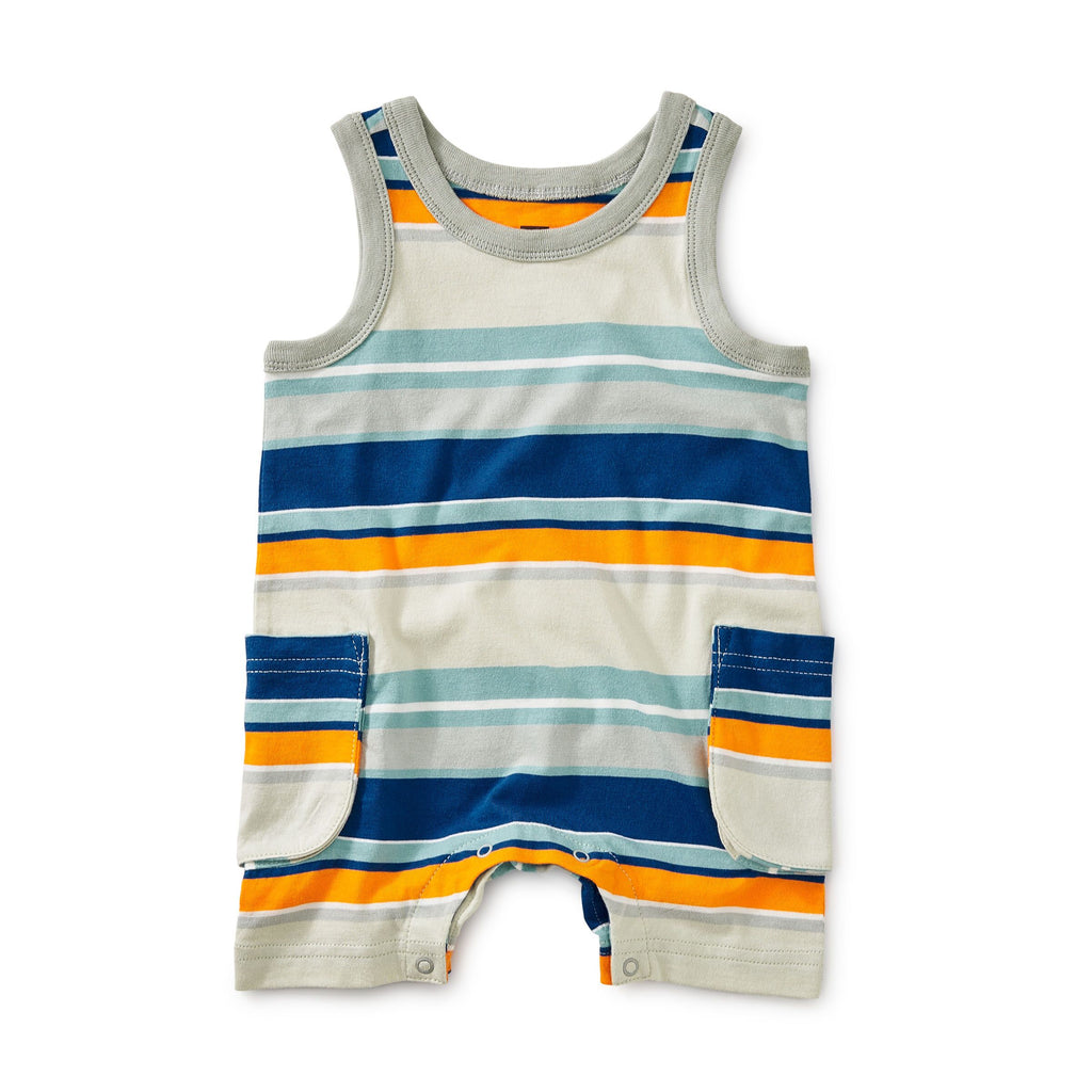 Orange & Blue Striped Tank Romper