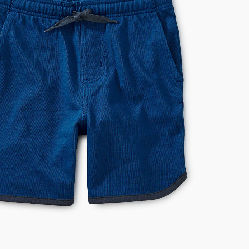 Blue Piped Knit Shorts