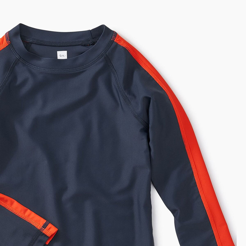 Sporty Stripe Navy/Orange Rash Guard